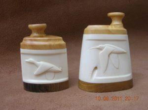 Courlis et Colverts - sculpture sur os animalière / Bone Carving