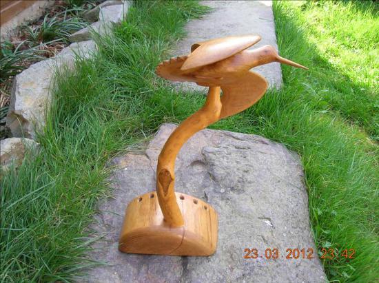 Bécasse en vol - Sculpture animalière sur bois / Bone Carving
